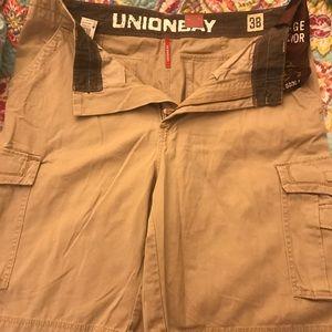 Young men's UnionBay cargo shorts. Desert color